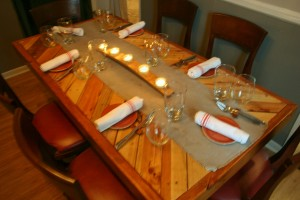 Upcycled shipping crates were used to create the chef's table.