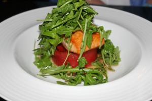 Atlantic Salmon, Charred Watermelon, Vanilla Bean Vinaigrette, Arugula Salad