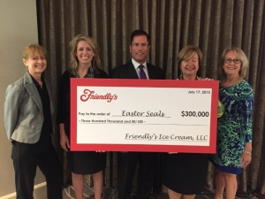 Easter Seals President & CEO, Randy Rutta and Easter Seals staff and board members pictured here receiving Friendly's generous 2015 Cones for Kids gift. (PRNewsFoto/Easter Seals)