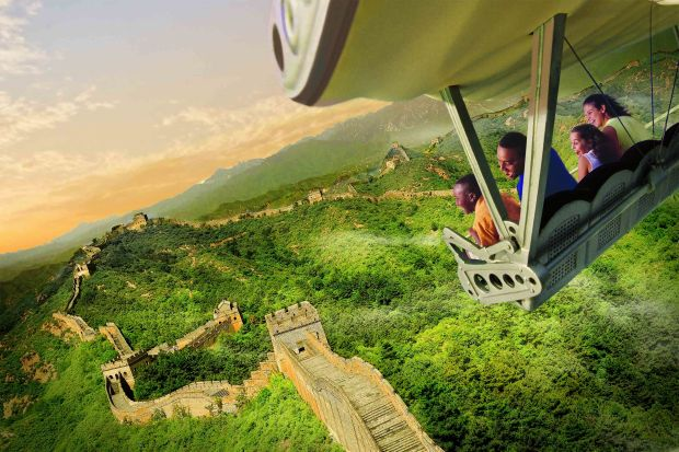 Guests will celebrate the U.S. debut of the new SoarinÕ Around the World attraction at The Land pavilion this summer. Now with a third Epcot theater, plus new digital screens and projection systems, the expanded attraction takes guests on an exhilarating ÒflightÓ above spectacular global landscapes and man-made wonders. (Photo illustration, Disney)