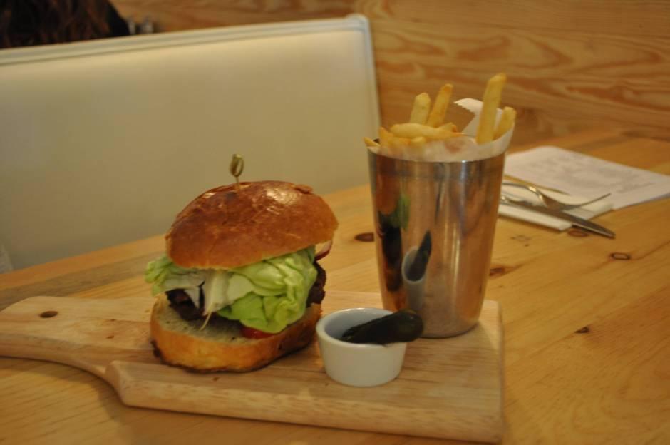 The Bare Bones Burger at Butcher Block Burgers. Credits: Jackie Lieberman